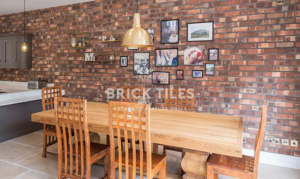 Victorian Pressed Open Plan Kitchen Living Room Feature Wall Imperial Brick Tiles