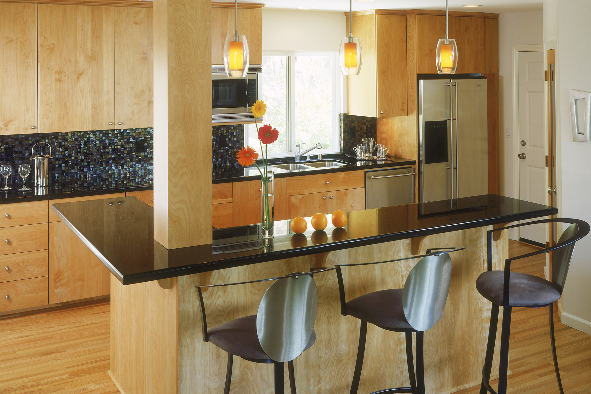 Custom Contemporary Kitchen Cabinets  Alder Wood Java