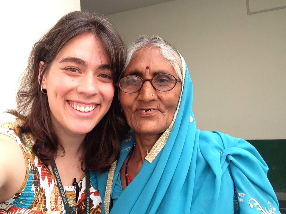 "AMANDA, CO-DIRECTOR OF THE LOVIN' SOAP PROJECT, WITH ""AMA"" IN RURAL UTTAR PRADESH, INDIA."
