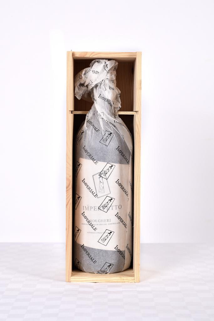 Vino rosso toscano di qualità, Imperfetto Azienda Agricola Imperiale Bolgheri, versione con cassa di legno, Magnum