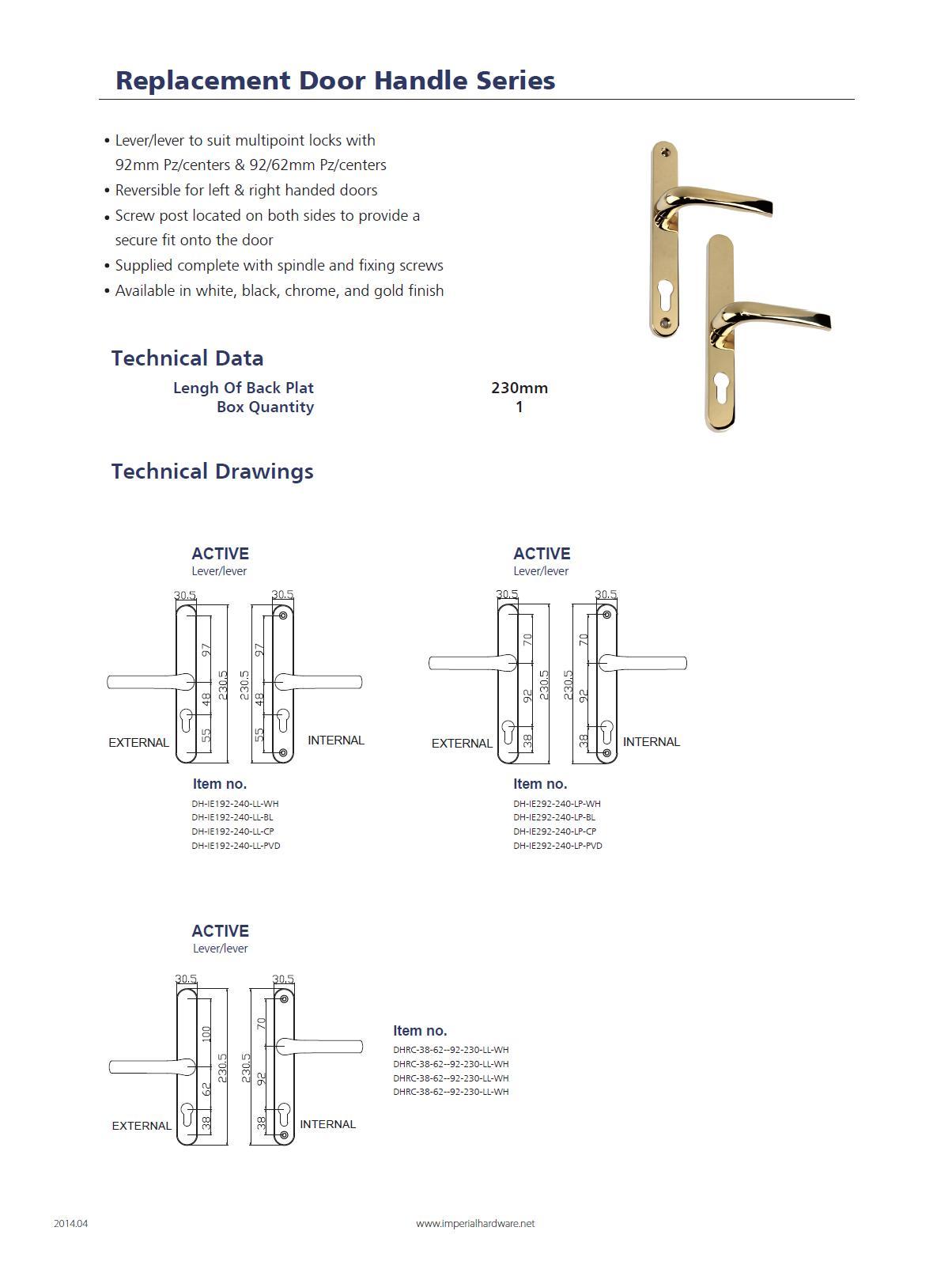 Replacement door handle series_230mm