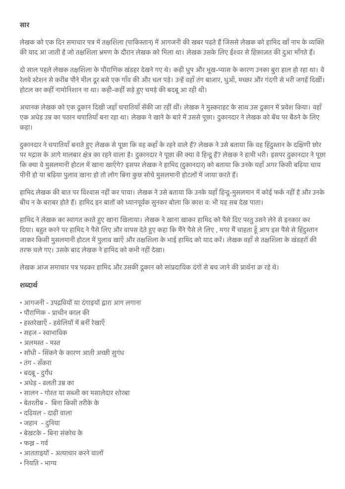 Chapter 5 हामिद खाँ Summary Notes for Class 9th Sanchayan