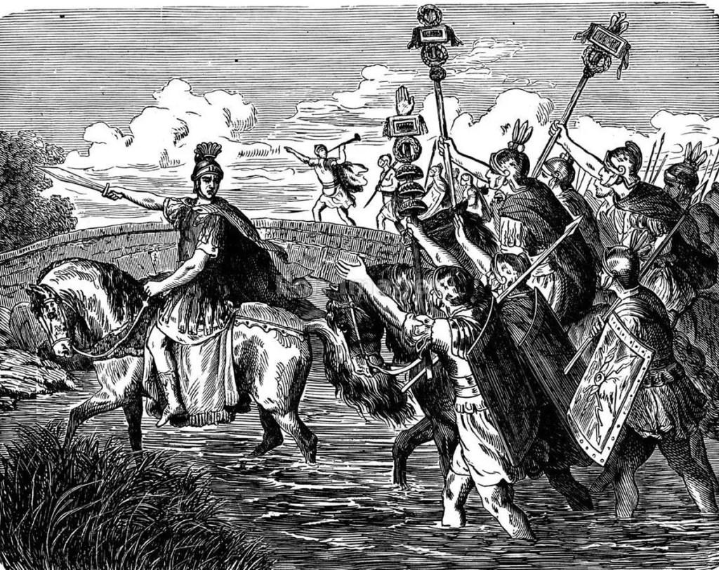 César cruzando el Rubicón.