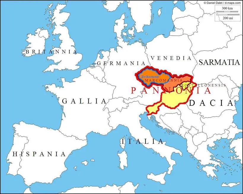 Mapa de Europa detallando la provincia de Pannonia.