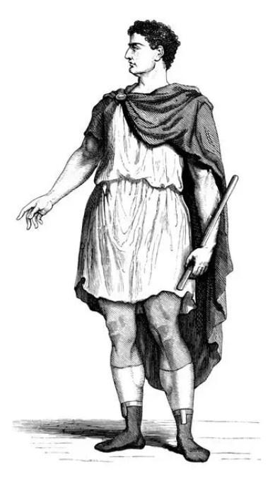 Hombre vistiendo una túnica y sobre esta una paenula con la capucha baja.