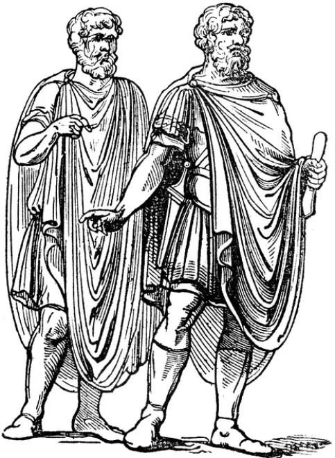 Hombres vistiendo una abolla.
