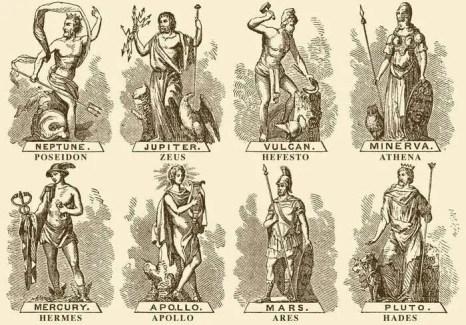 Los dioses grecorromanos. En la etiqueta de superior el nombre romano, en la inferior el griego. Equivalencia entre los dioses griegos y los romanos.