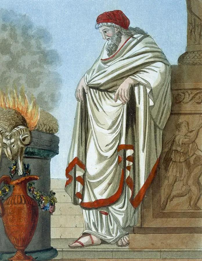 Ilustración de un pontifdex maximus realizando sus rituales.