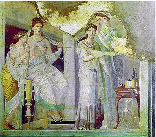 Mujeres romanas en su vida cotidiana, fresco hallado en Herculano.