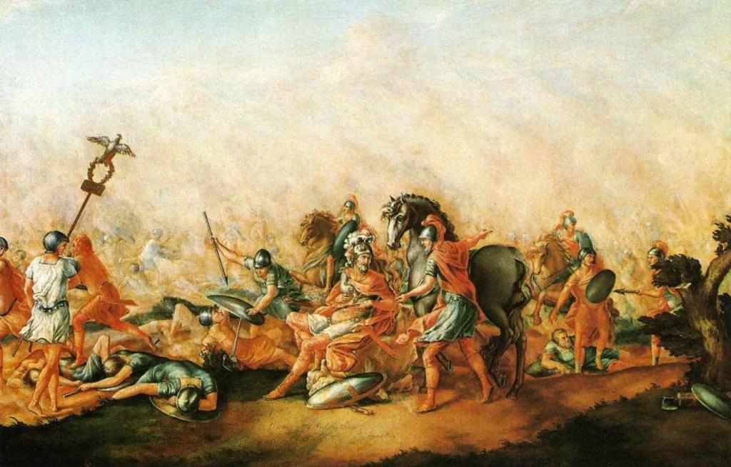 Escena de una batalla, en el medio se ve al cónsul romano Paulo agonizando.
