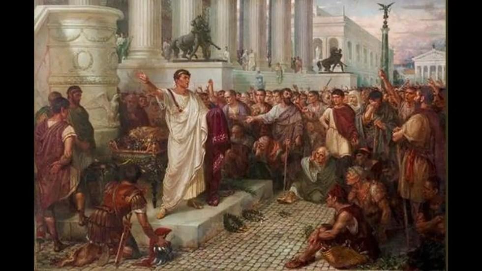 Pretor romano dando oratoria.