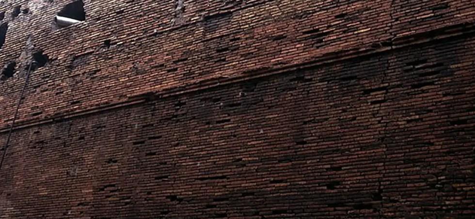 Fotografía de los ladrillos de la Castra Praetoria.