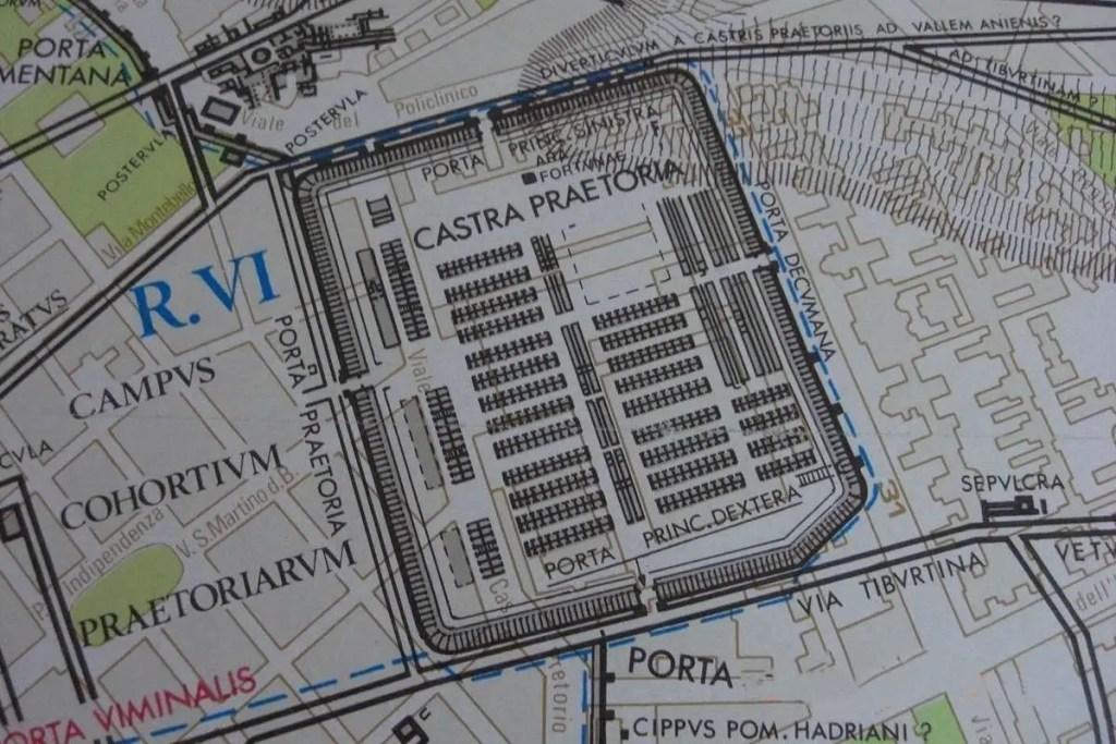 Imagen de un mapa de Roma mostrando la ubicaci´`on de la Castra Pretoriana.