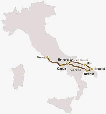 Infográfica mostrando el recorrido de la Via Apia.