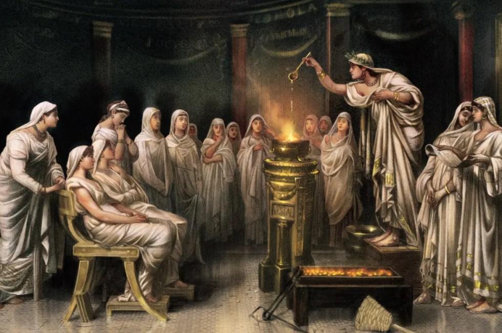 Pintura de las vestales atendiendo sus rituales.