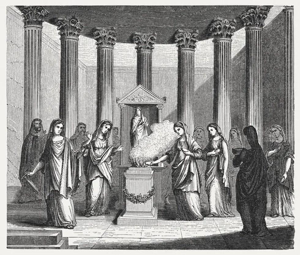 Ilustración de las vestales alimentando el fuego sagrado de Roma.
