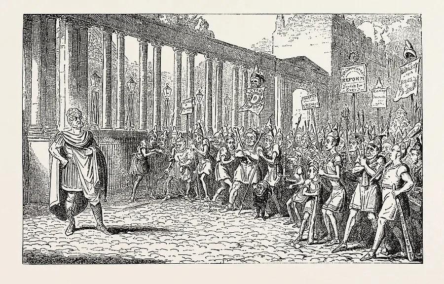 Ilustración a manera de caricatura mostrando el conflicto entre patricios y plebeyos.