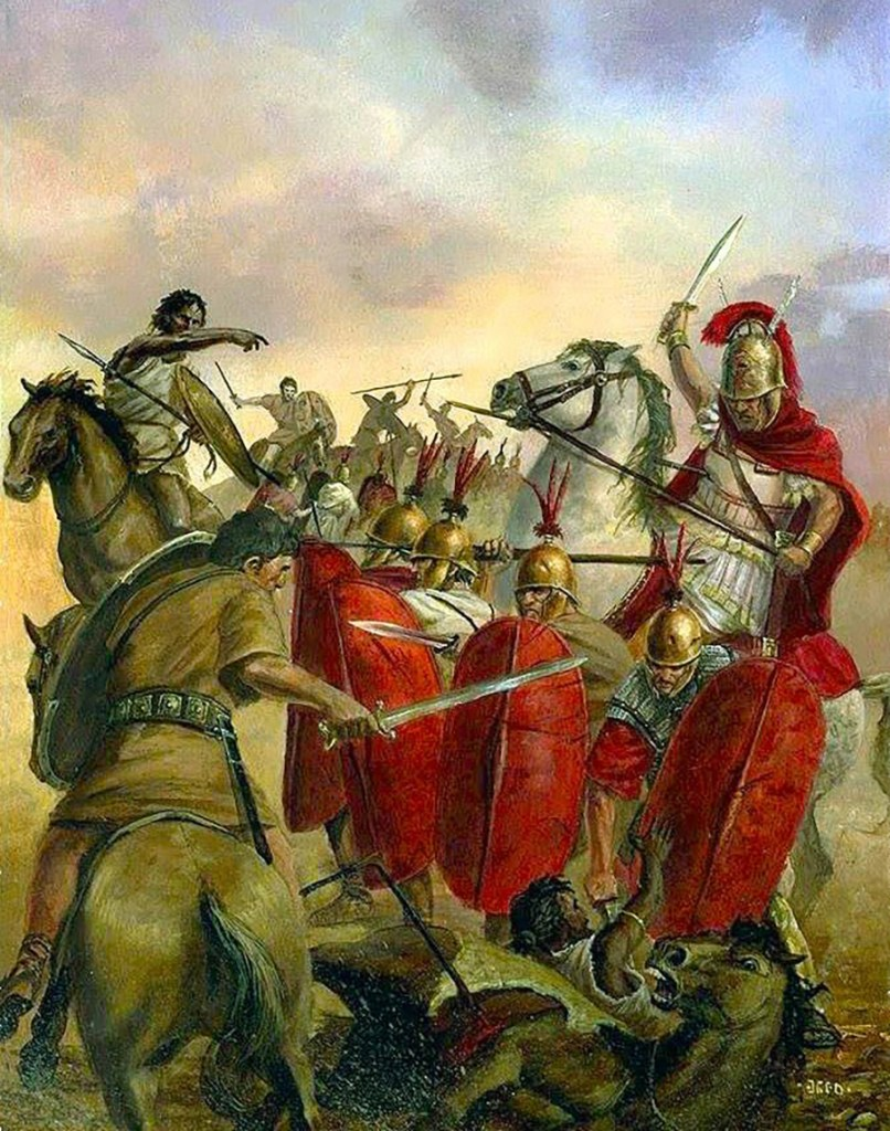 Ilustración de soldados romanos en guerra.