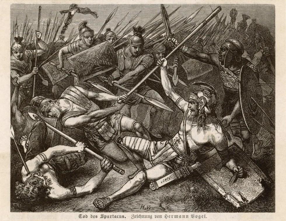 La muerte de Espartaco, por Hermann Vogel, 1881.