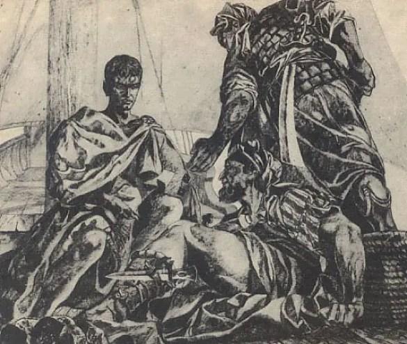 Ilustración de Julio César como prisionero de los piratas sicilianos.