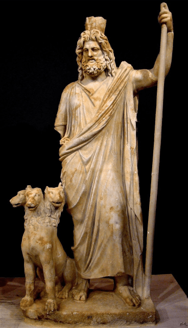 Estatua de Hades y el can Cerbero.