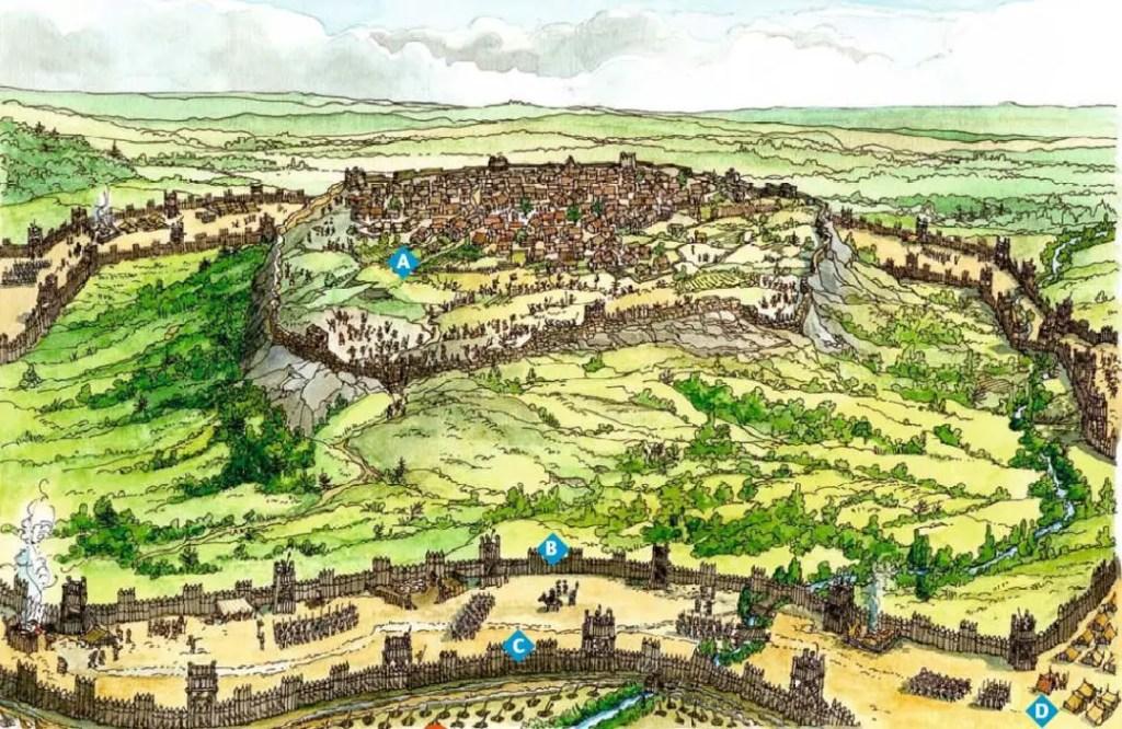 Esquema del sitiado de Alesia.