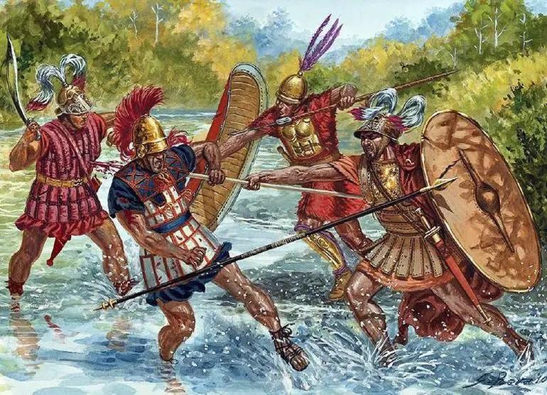 Ilustración de hoplitas romanos.