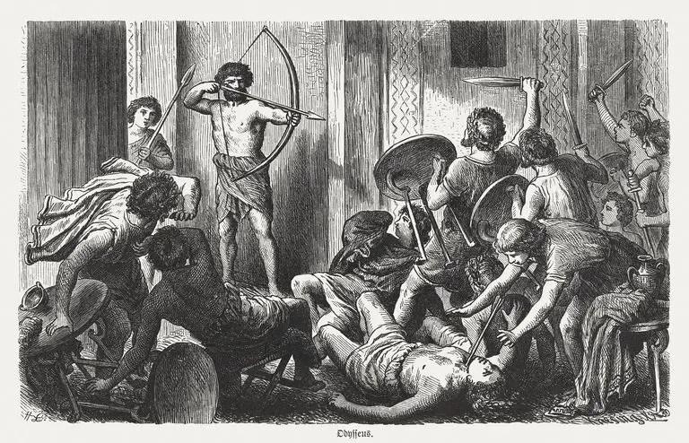 Ilustración de la venganza de Odiseo contra los pretendientes.