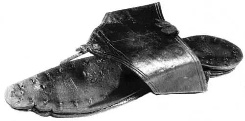 Fotogra´fia de una sandalia de mujer romana.