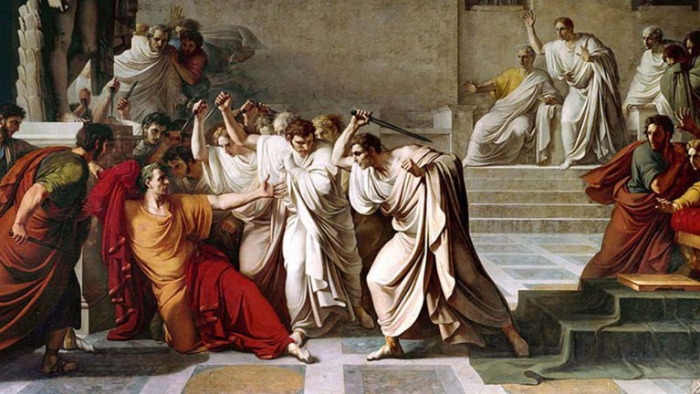 El asesinato de Julio César, por Vincenzo Camuccini.