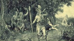 Idealización de un bárbaro sonando un cuerno antes de la cacería como los descritos en la Germania de Tácito.