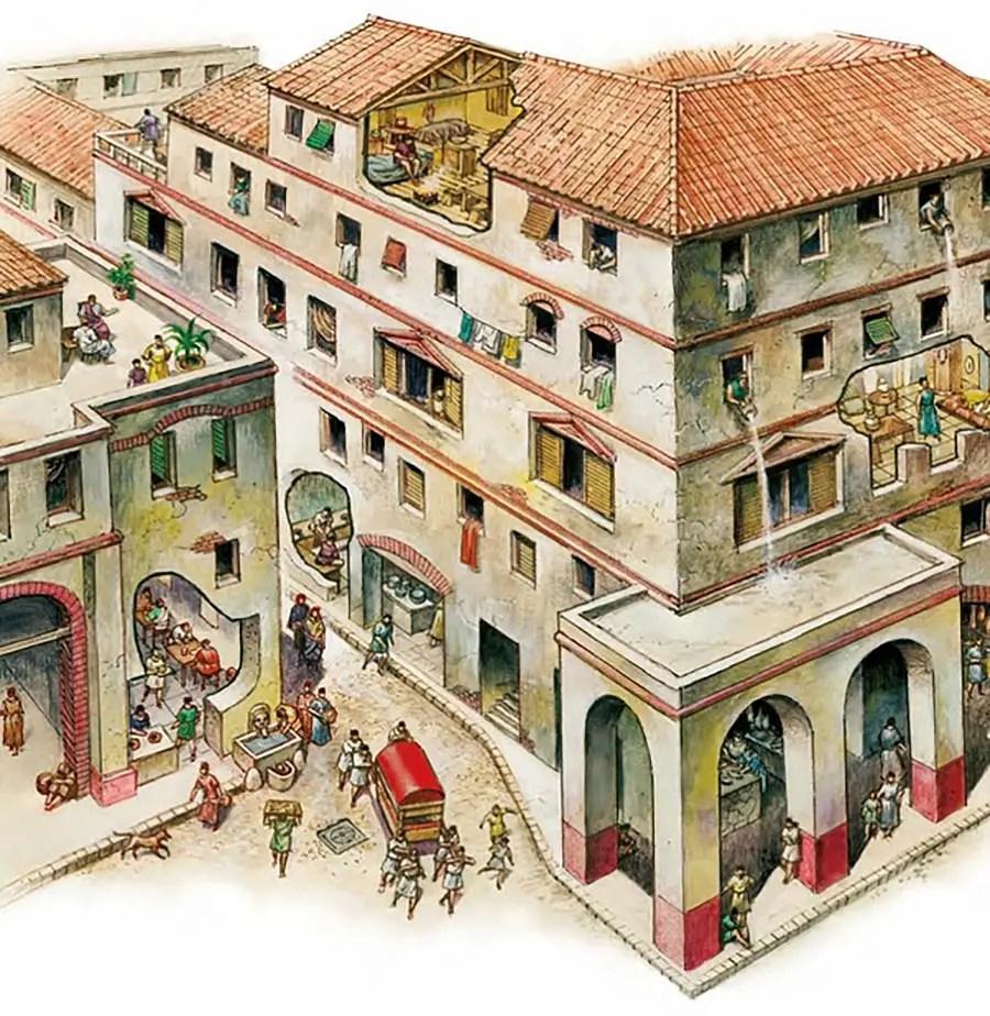 Ilustración de una insula romana.