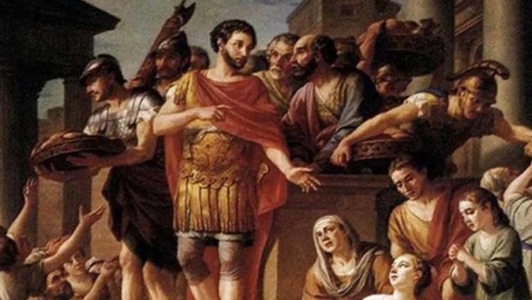 Marco Aurelio distribuyendo pan.