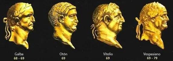 Los rostros de los cuatro emperadores romanos del año 69.