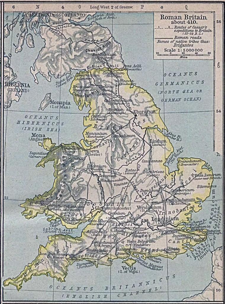Mapa de Britania en el 410 d. C.