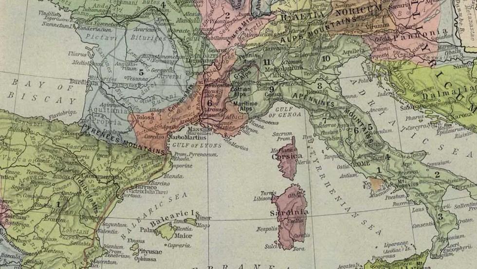 Cabezal mapas Imperio romano.