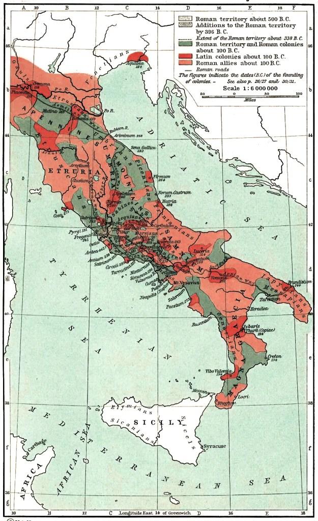 Crecimiento romano en Italia.
