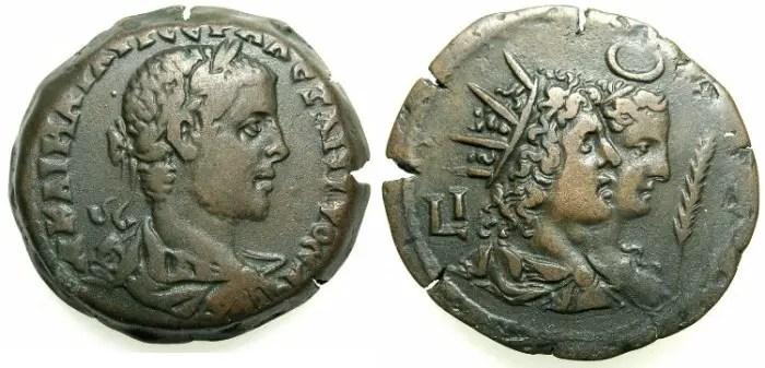 Dracma de Alejandría de la era del emperador Alejandro Severo.