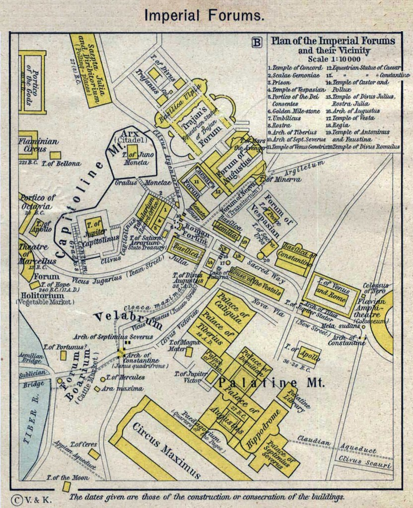 Plano del Foro romano durante la época del Imperio romano.