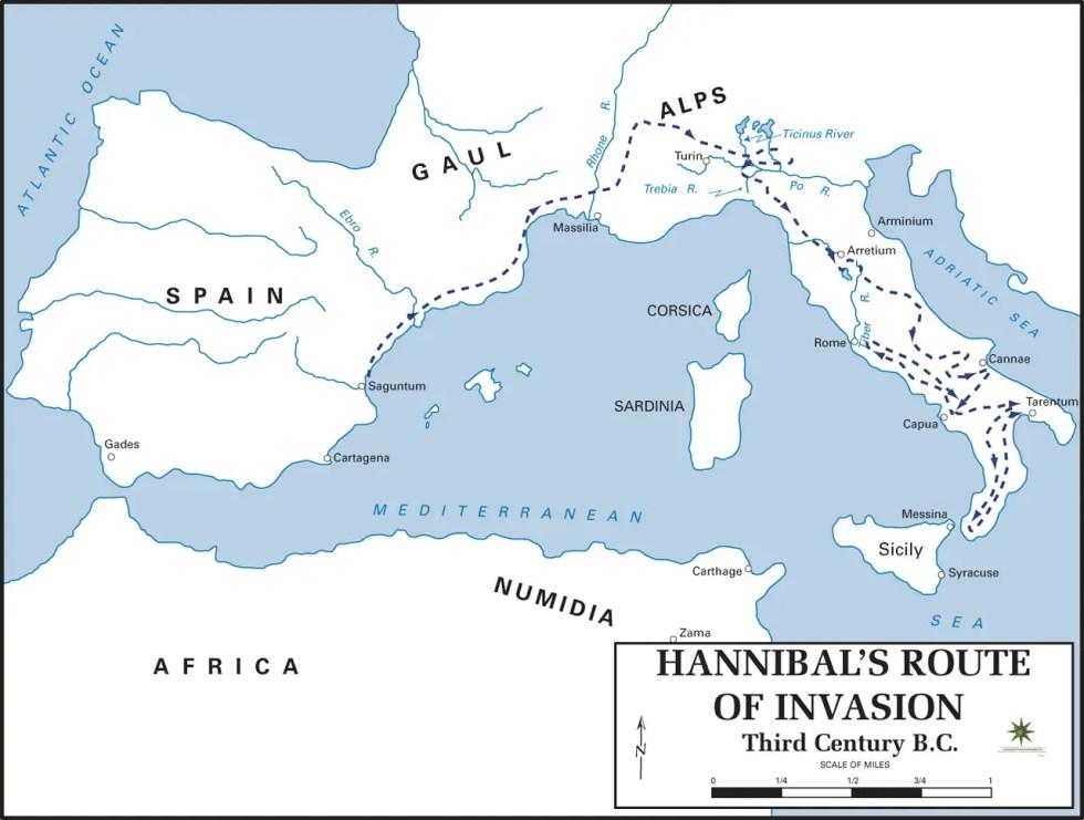 Mapa de la ruta de Aníbal por Europa.