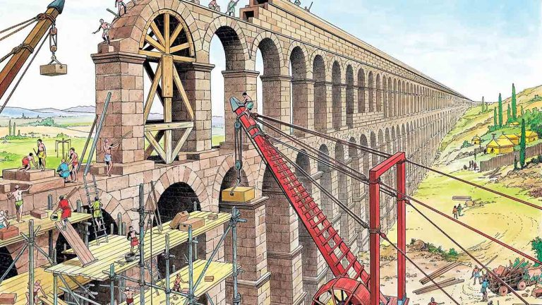 Ilustración de la construcción de un acuaducto. La importancia de las medidas romanas en la ingeniería.
