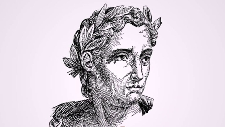 Grabado de Plinio el joven, libros y cartas.