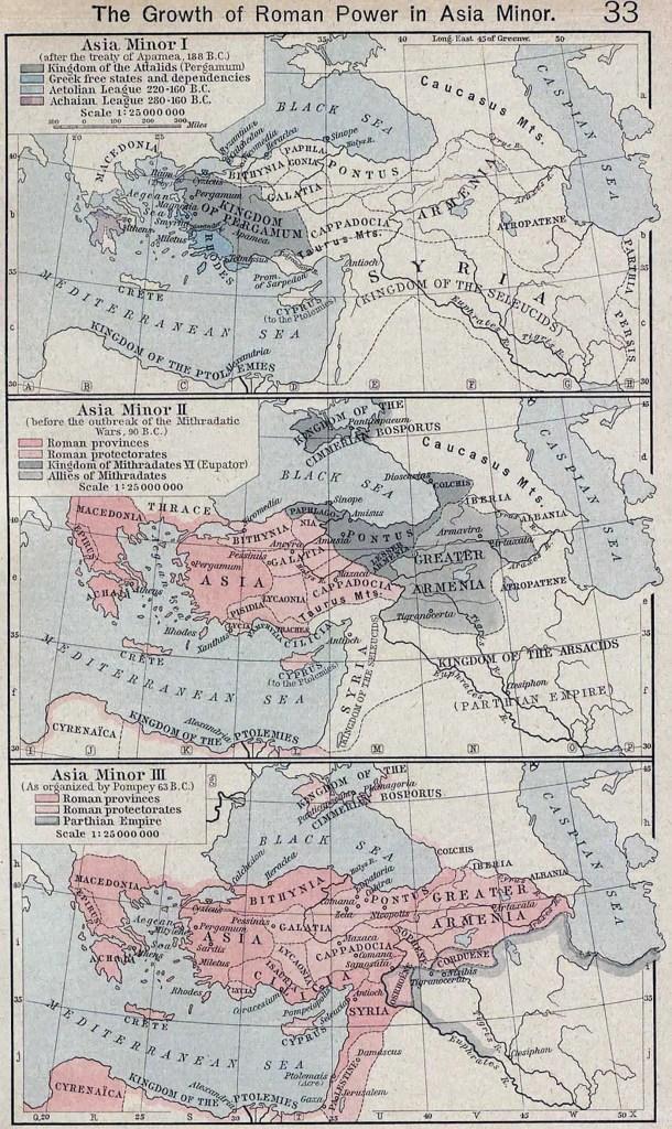 Mapa de la expansión de la República romana en Asia Menor.