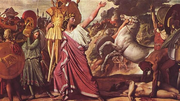 Pintura mostrando a Rómulo fundando la ciudad de Roma.