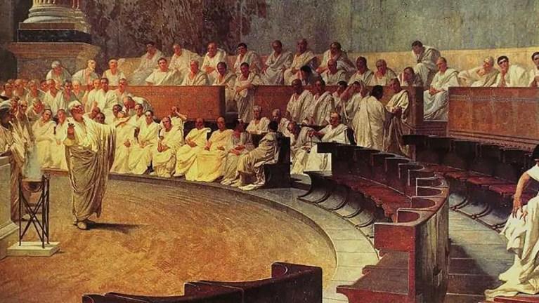 El senado romano y la lucha entre las clases sociales romanas.