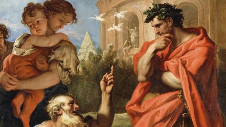 Tarquinio Priscio consultando a Atio Navio.