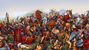 Ilustración de una batalla de la Guerra de las Galias.