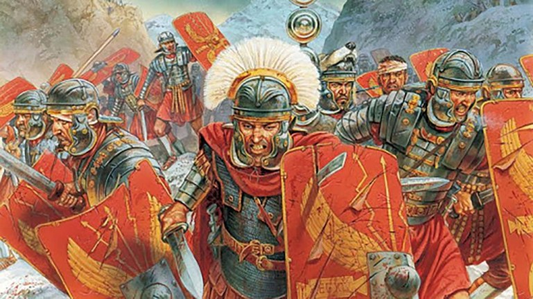 Legionarios romanos en combate.