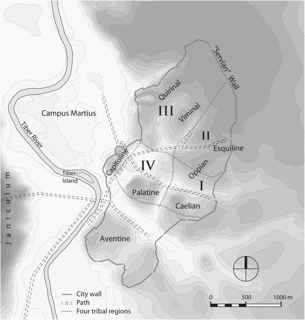 Mapa de las siete colinas de Roma.