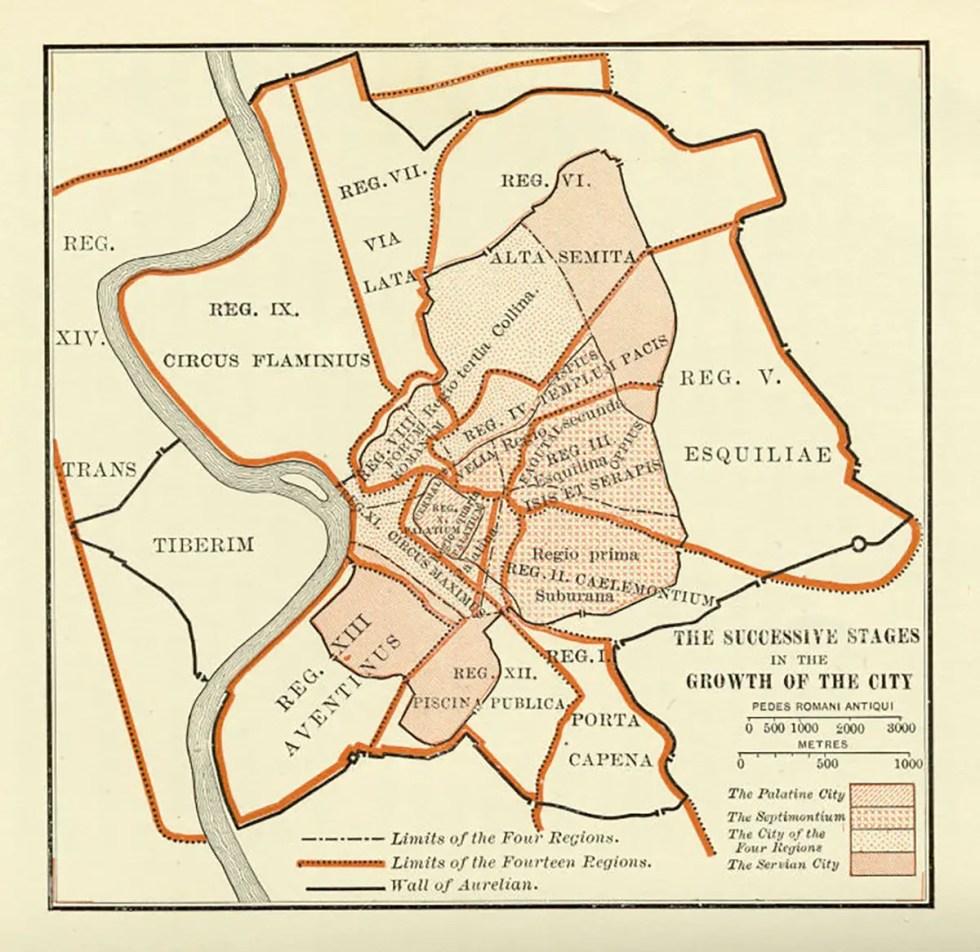 Mapa del crecimiento sucesivo de Roma.